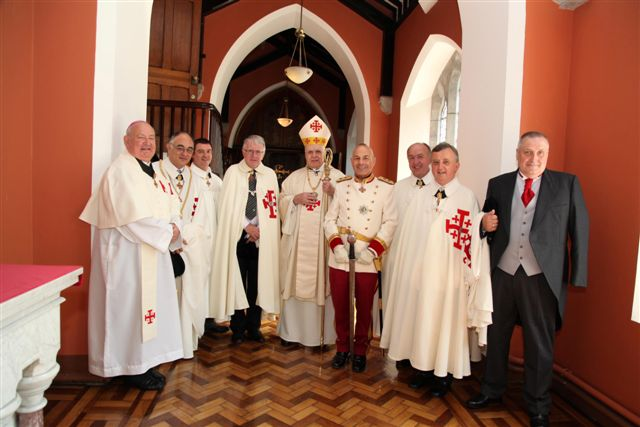 The Grand Master with Bishop Raymond Field, His Excellency Enric Mas Lopez Lieutenant of Eastern Spain, Brian Cunneen, Charles kelly, John Turley, John Reid, Judge Patrick Durcan and Pat O'Sullivan